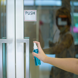 Sanitizing door handle to prevent bacterial spread. For example, covid-19