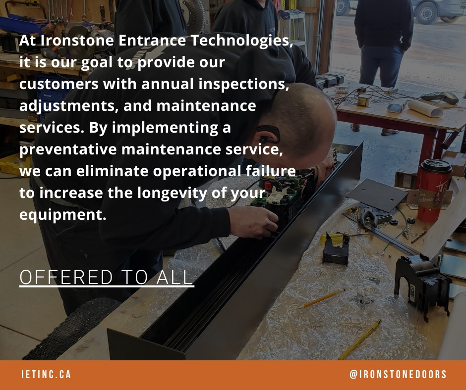 What a Preventative Maintenance Service is. Ironstone Entrance Technologies offers this to all customers.